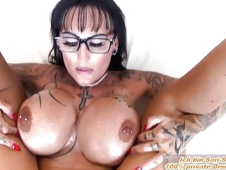 German milf big tits boobs fucks in oil POV n glasses amateur milf pov