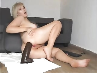 Pregnant anal fuck with a huge toy anal blonde sex toy
